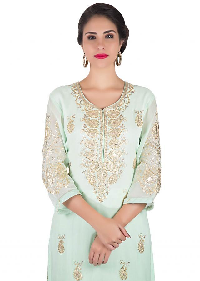Mint straight palazzo suit with paisley motif zari embroidery only on Kalki