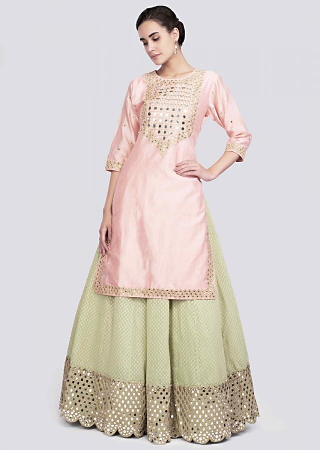 Peach Long Top With Mirror Embroidery And Apple Green Mirror Embroidered Lehenga Online - Kalki Fashion