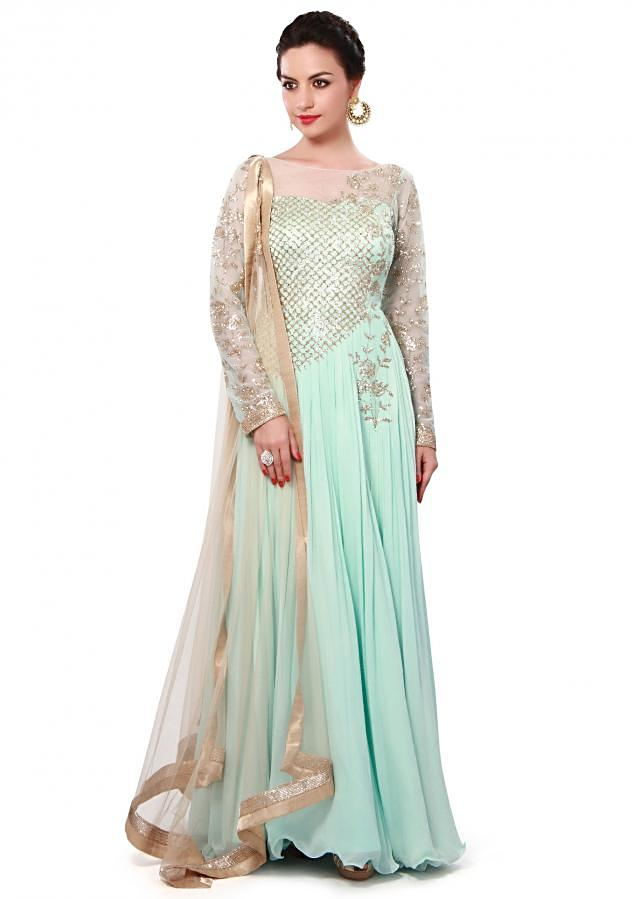 Mist blue anarkali suit adorn in sequin only on Kalki