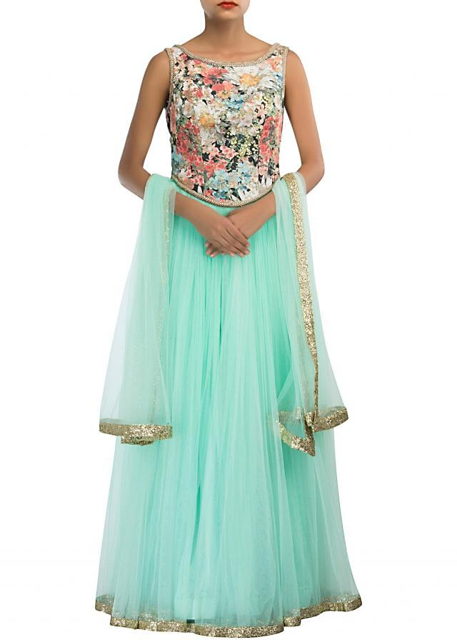 Mist green anarkali suit adorn in floral motif and sequin embroidery only on Kalki