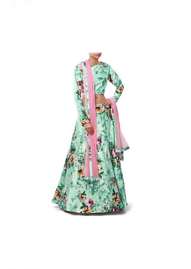 Mist green lehenga features in floral print only on Kalki