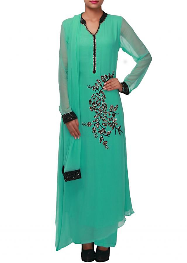 Mist green straight suit adorn in thread and kundan embroidery only on Kalki