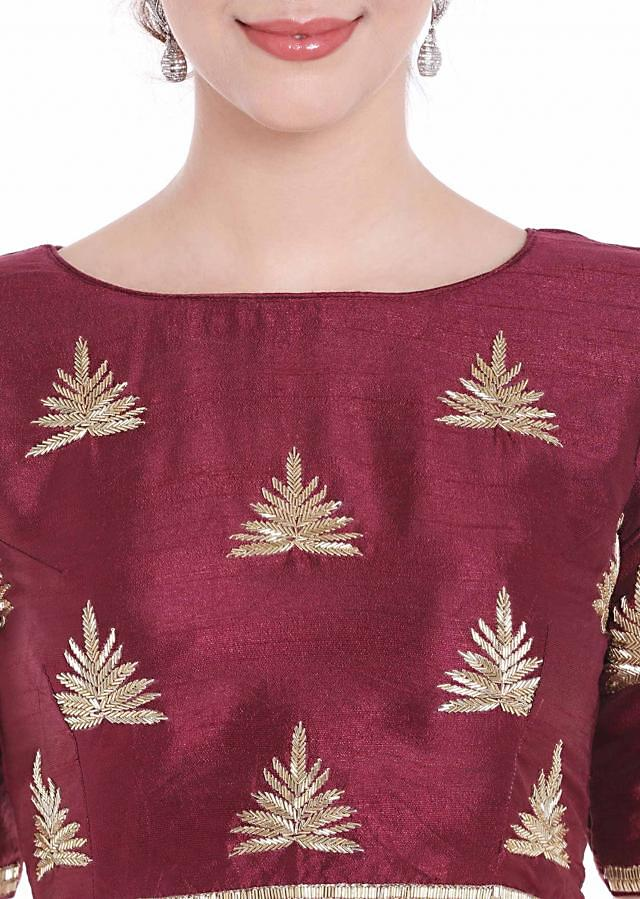 Mist pink raw silk blouse with cut dana butti in leaf motif embroidery only on Kalki