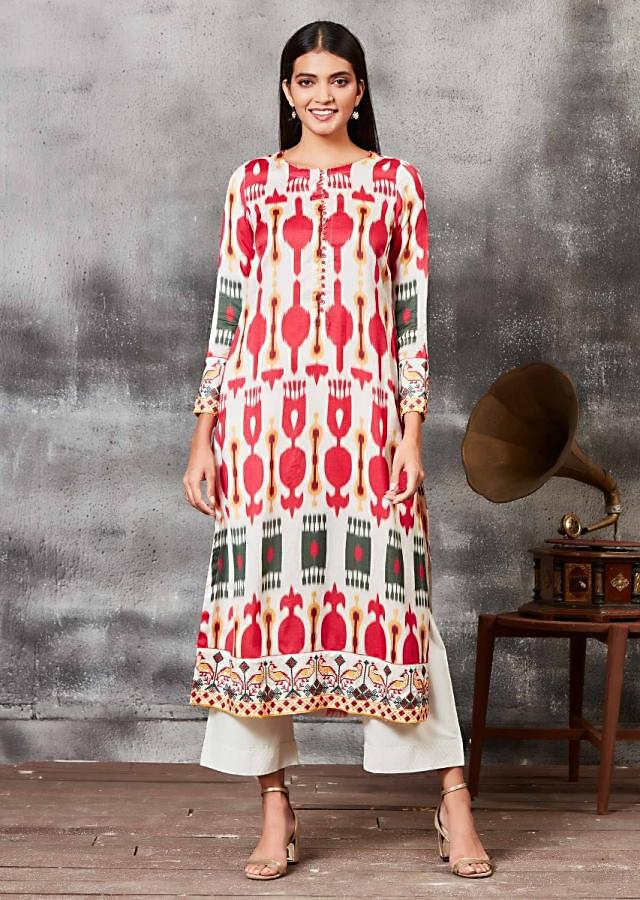 Moon Grey Straight Cut Suit With Multi Colored Ikkat Print Online - Kalki Fashion