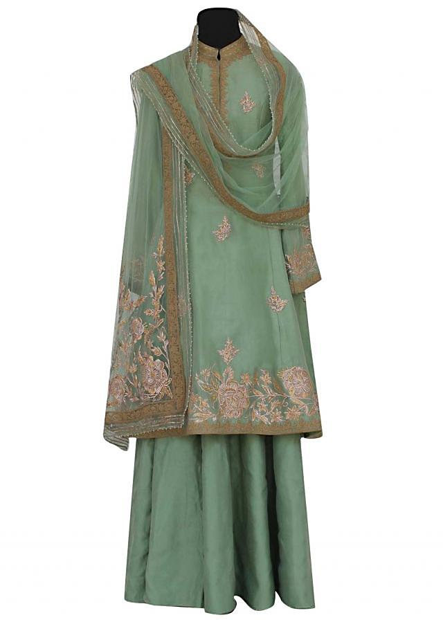 Moss green A line embroidered suit with silk sharara