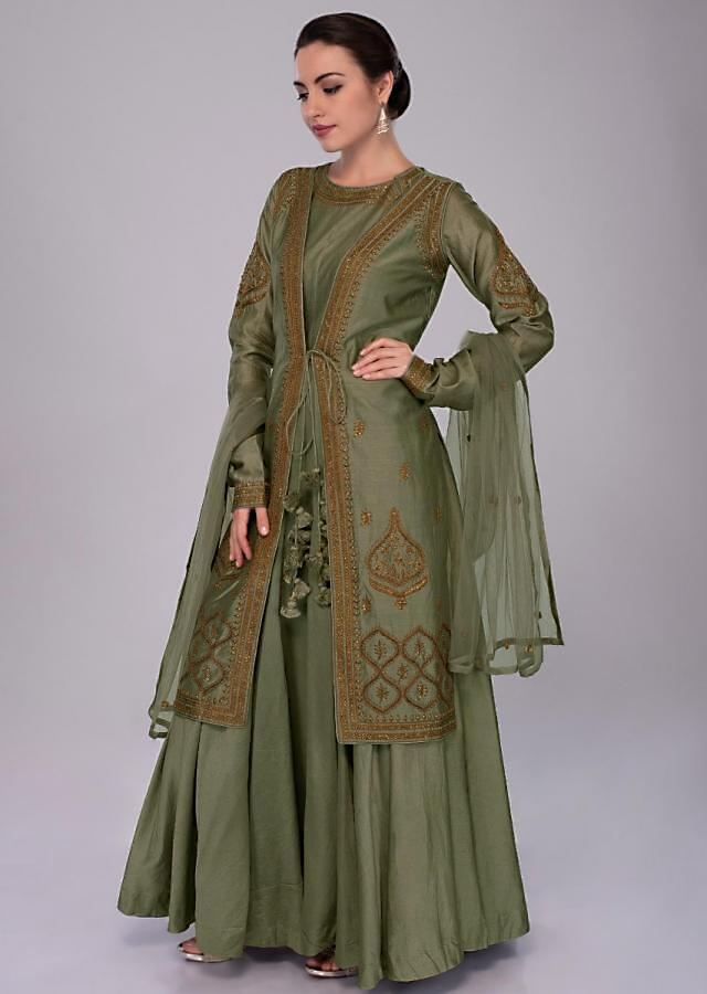 Moss Green Anarkali Dress With Embroidered Jacket And Net Dupatta Online - Kalki Fashion