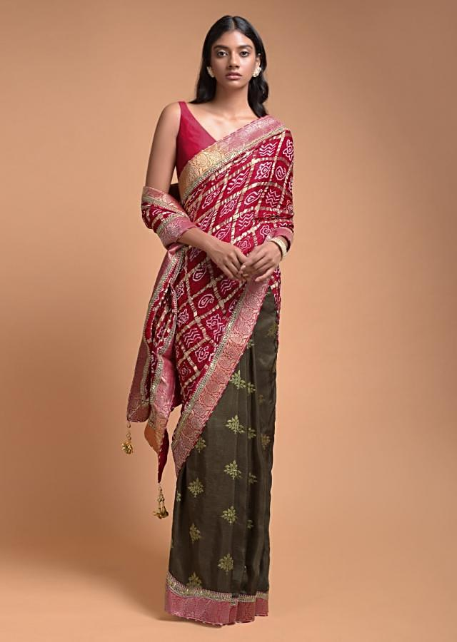 Moss Green And Red Half And Half Saree With Weaved Floral Buttis And Bandhani Print Online - Kalki Fashion