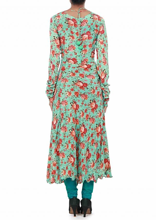 Moss green long kurti enhanced in flora print only on Kalki
