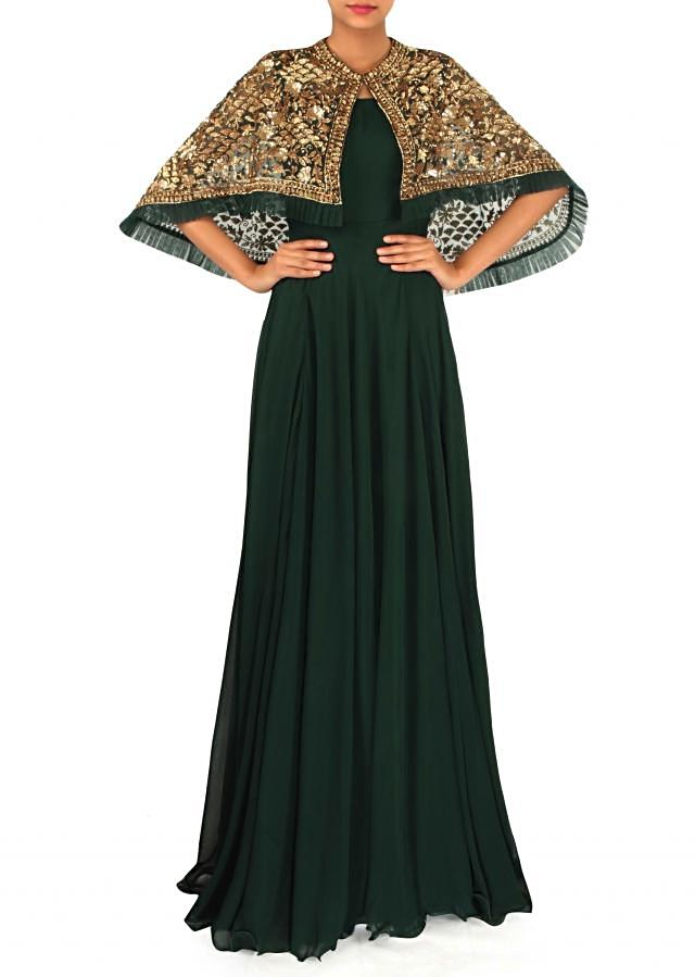 Moss green suit matched with embroidered cape in sequin only on Kalki