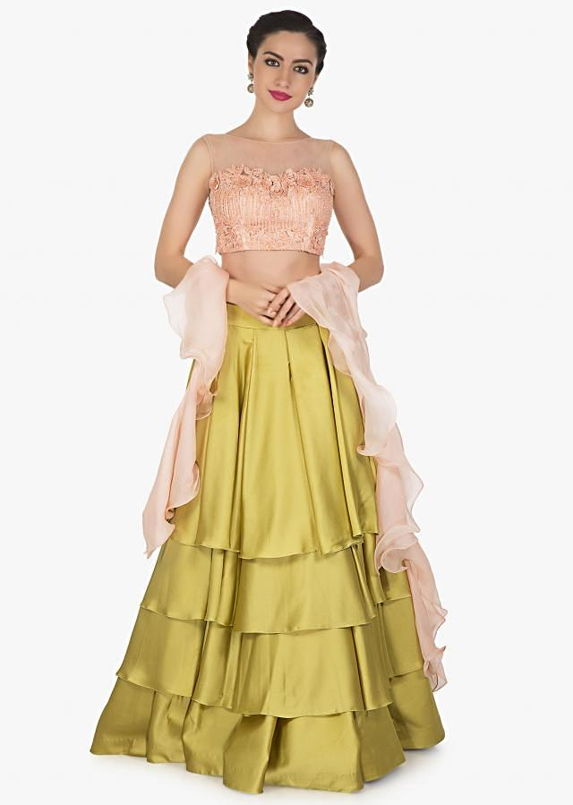 Moss green skirt matched with pink embroidered crop top blouse only on Kalki