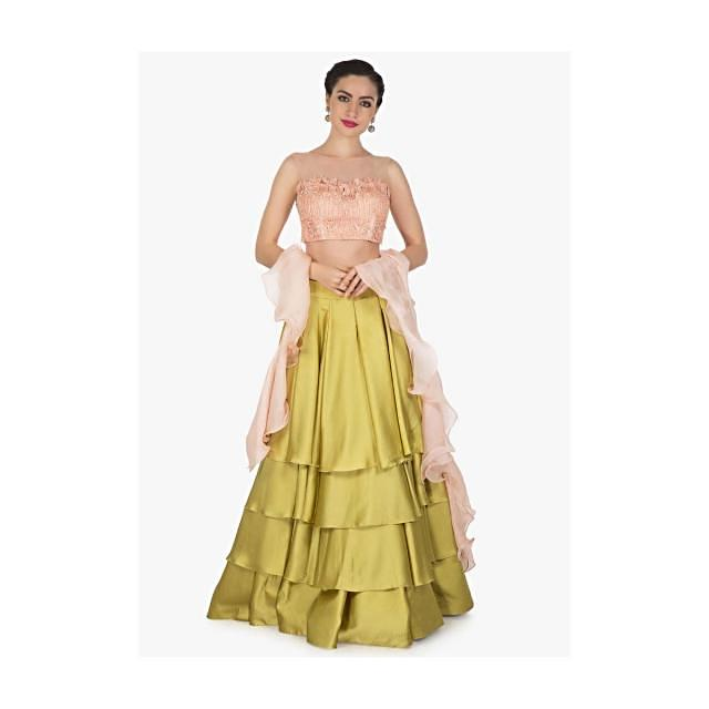 Moss Green Skirt Matched With Pink Embroidered Crop Top Blouse Online - Kalki Fashion