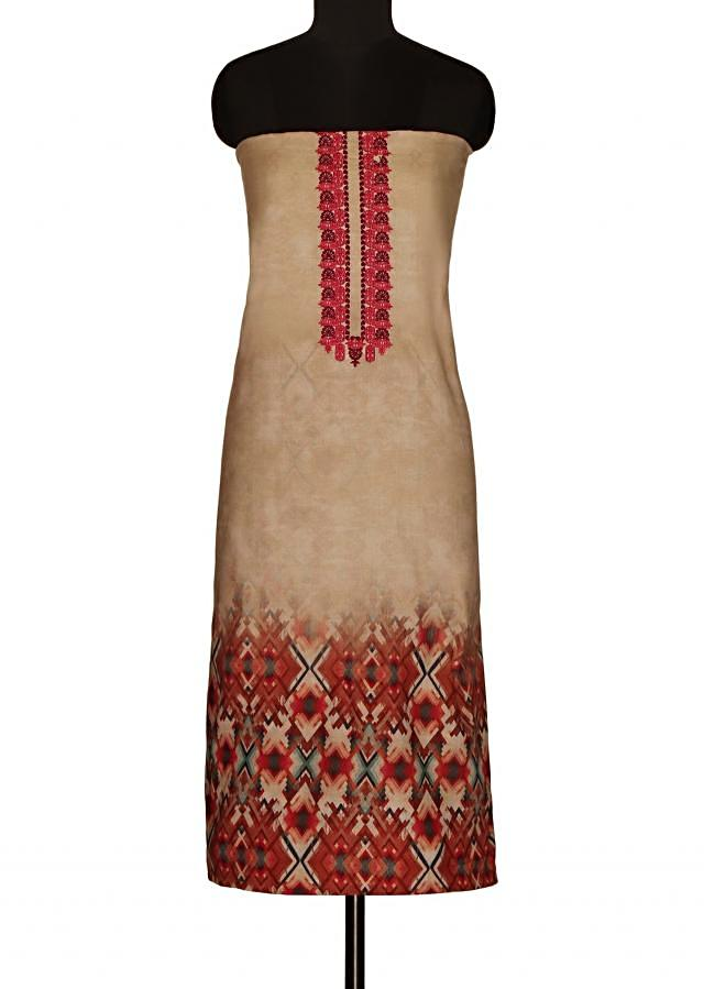 Mud cream unstitched suit with printed dupatta only on Kalki