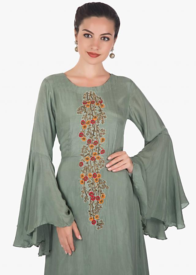 Mud green long asymmetric tunic dress featuring in cotton only on kalki