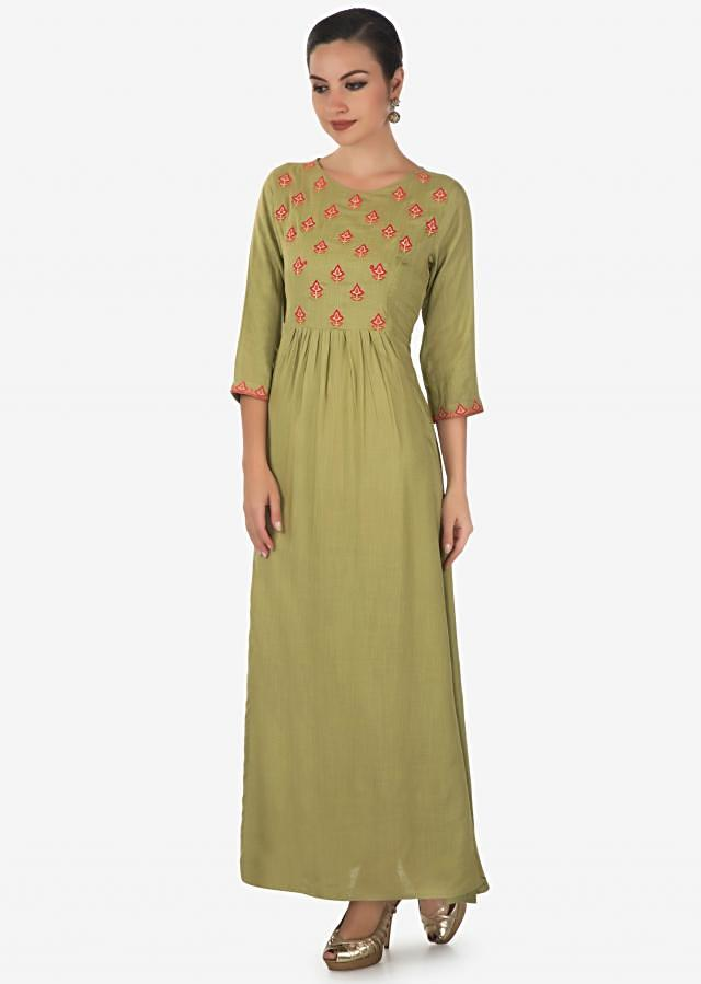 Mud green long dress adorn in resham butti and gathers only on Kalki