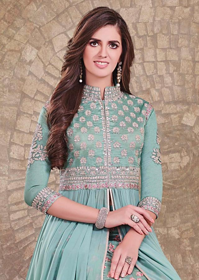 Mud green anarkali suit in embroidered bodice mathced with skirt