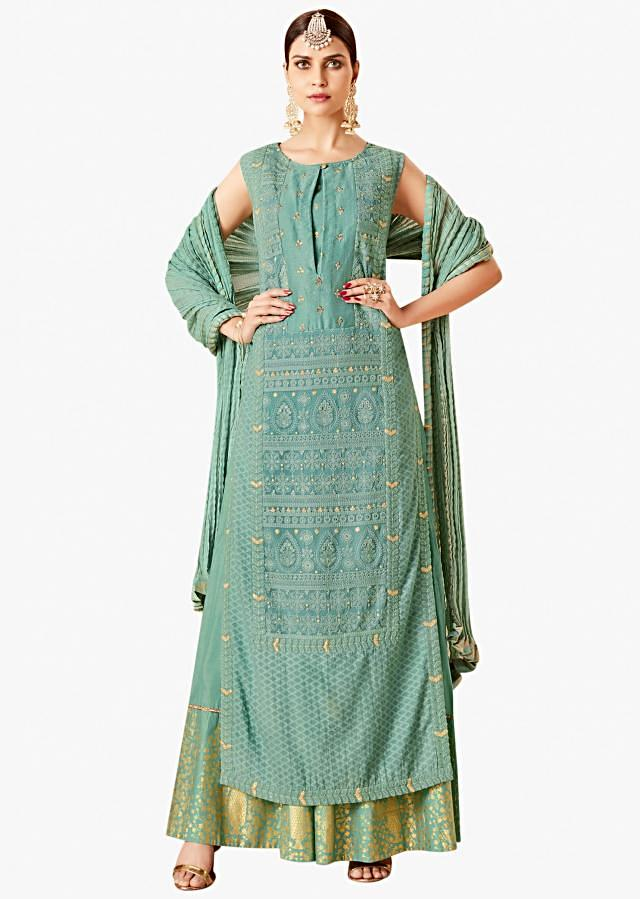 Mud green straight palazzo suit in georgette with thread and sequin embroidery