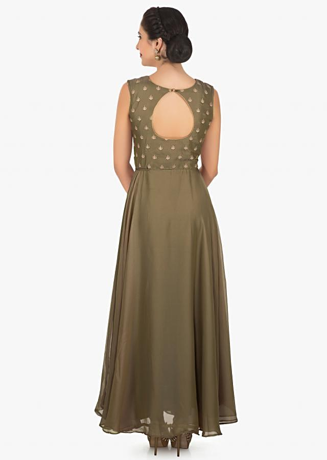 Mud olive green anarkali suit in chiffon with embroidered bodice only on Kalki
