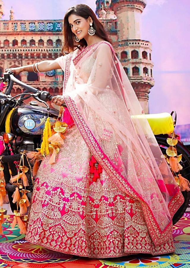 Mukti Mohan in Kalki pink shaded heavy embroidered raw silk lehenga set