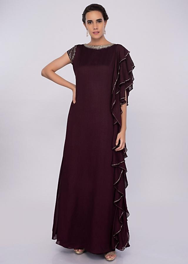 Mulberry georgette tunic dress with frills at the side only on kalki