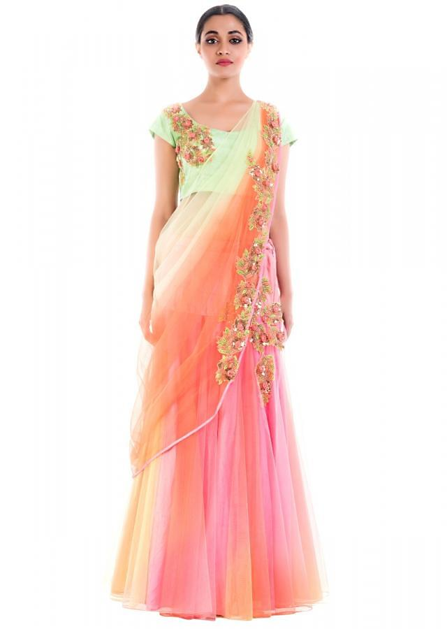 Mulberry Hues Lehenga Saree Online - Kalki Fashion