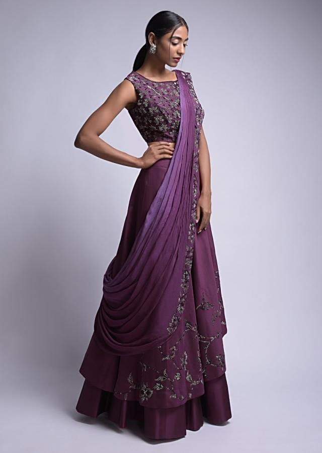 Mulberry Purple Lehenga Choli With Kundan Work And Prestitched Dupatta Online - Kalki Fashion