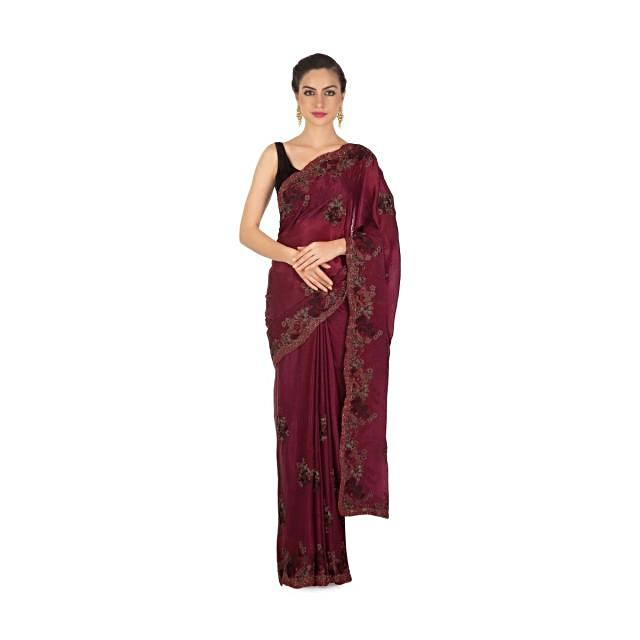 Mulberry purple saree adorn in resham and moti embroidered butti and border only on Kalki