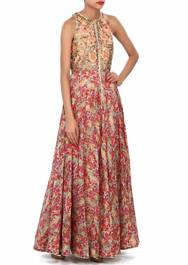 Multi anarkali suit featuring in print and sequin embroidery only on Kalki