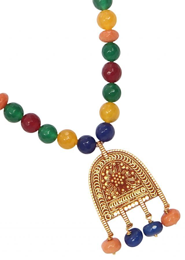 Multi beads with gold antique locket only on Kalki