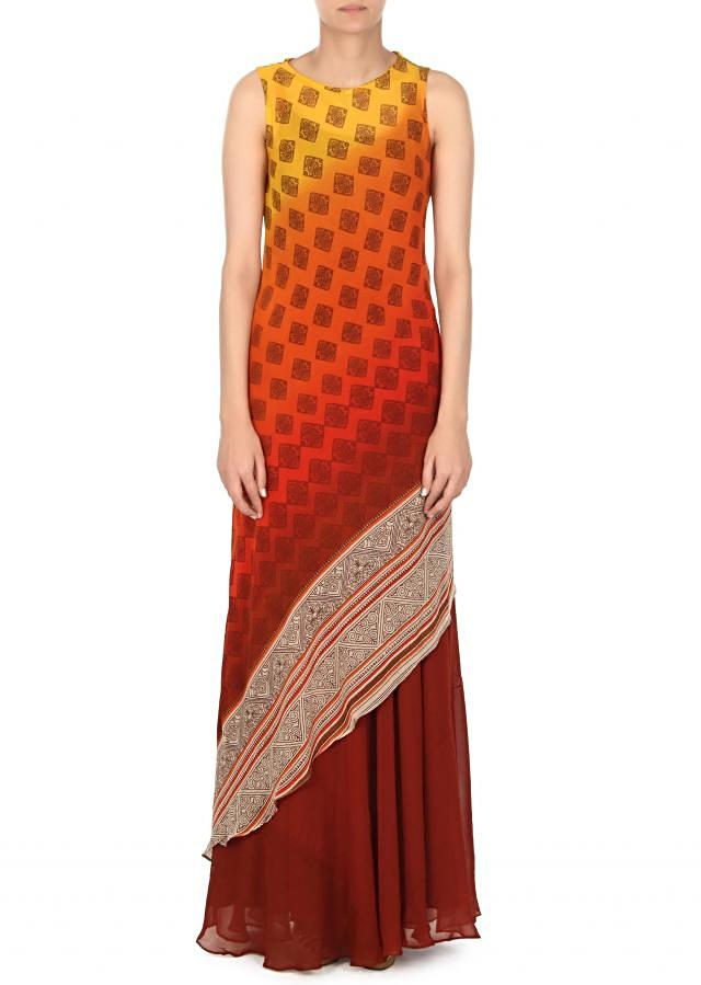 Multi color A line dress in print only on Kalki