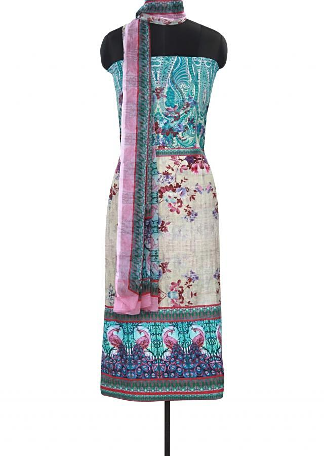Multi color abstract printed unstitched suit only on Kalki