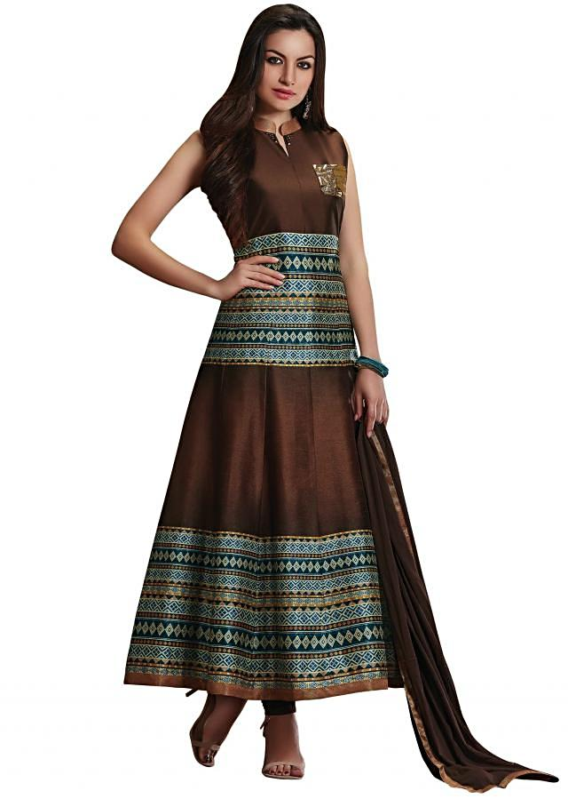 Multi color anarkali suit with zardosi and cut dana embroidered pocket