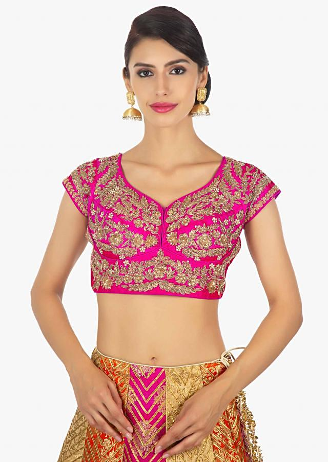 Multi Color Brocade Lehanga Paired With A Fusia Pink Silk Blouse And Rust Net Dupatta Online - Kalki Fashion