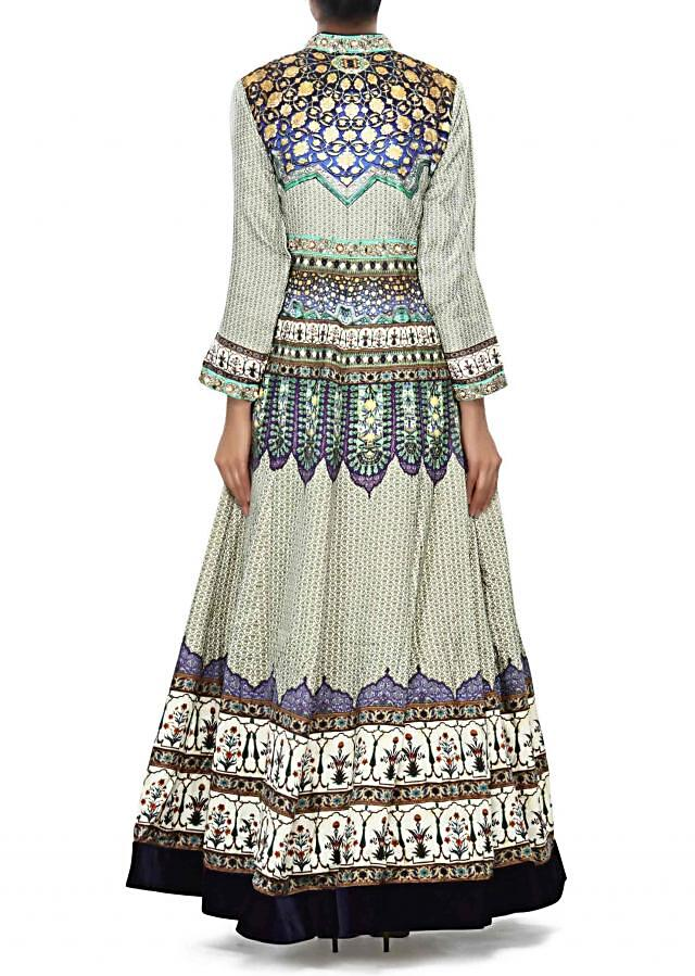 Multi color dress embellished in digital print only on Kalki