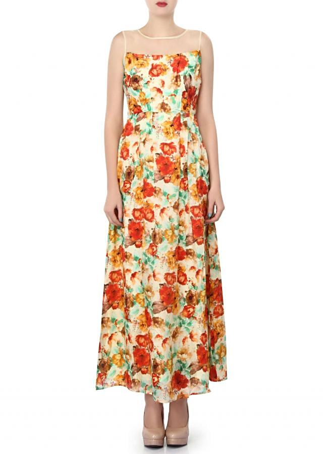Multi color dress enhanced in floral print only on Kalki