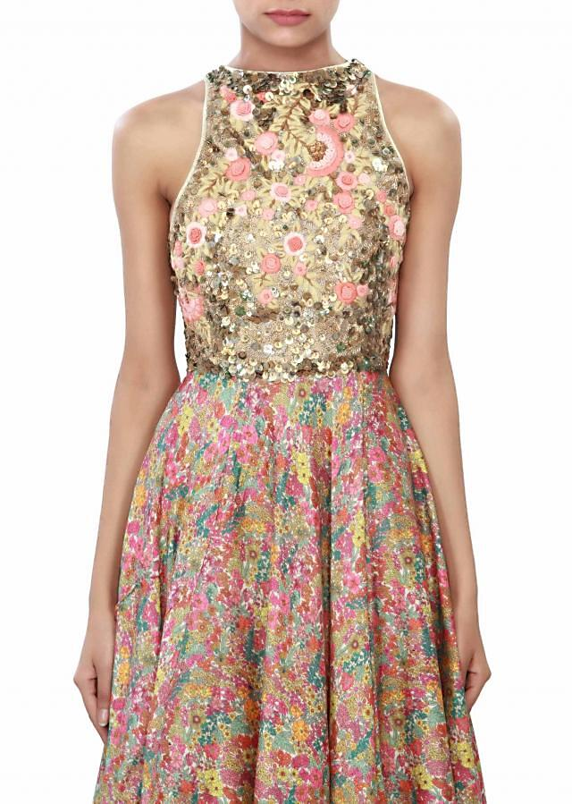 Multi color dress enhanced in print and sequin embroidery only on Kalki