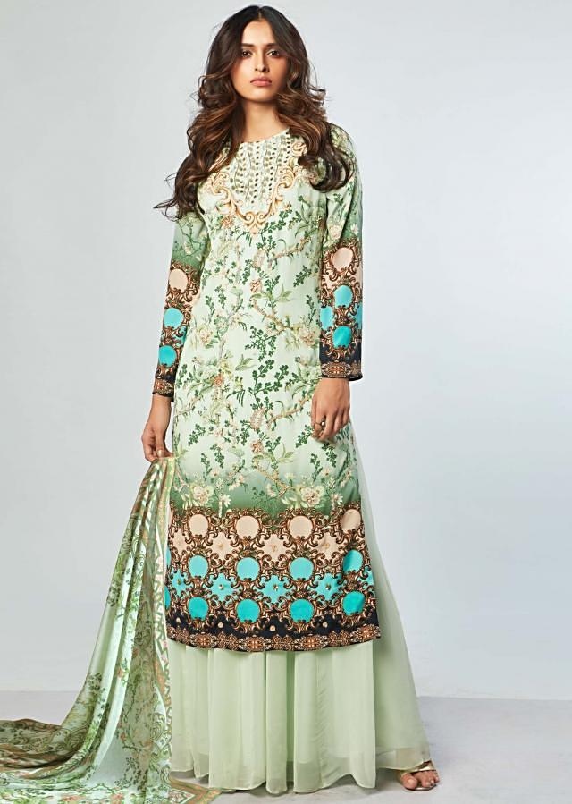Multi Color Suit With Floral Print And Embroidery With Georgette Palazzo And Printed Dupatta Online - Kalki Fashion