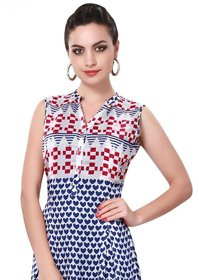 Multi color kurti adorn in heart and geometric print only on Kalki