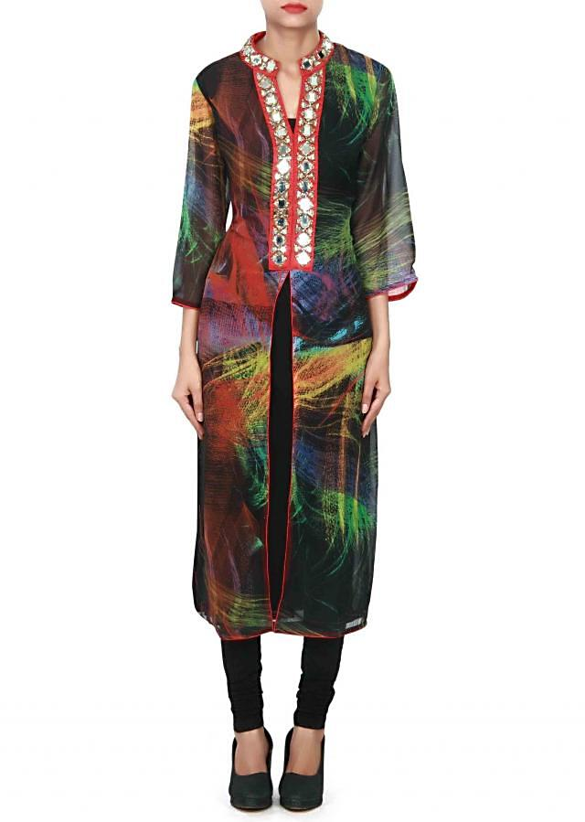 Multi color kurti adorn in mirror embellished placket only on Kalki