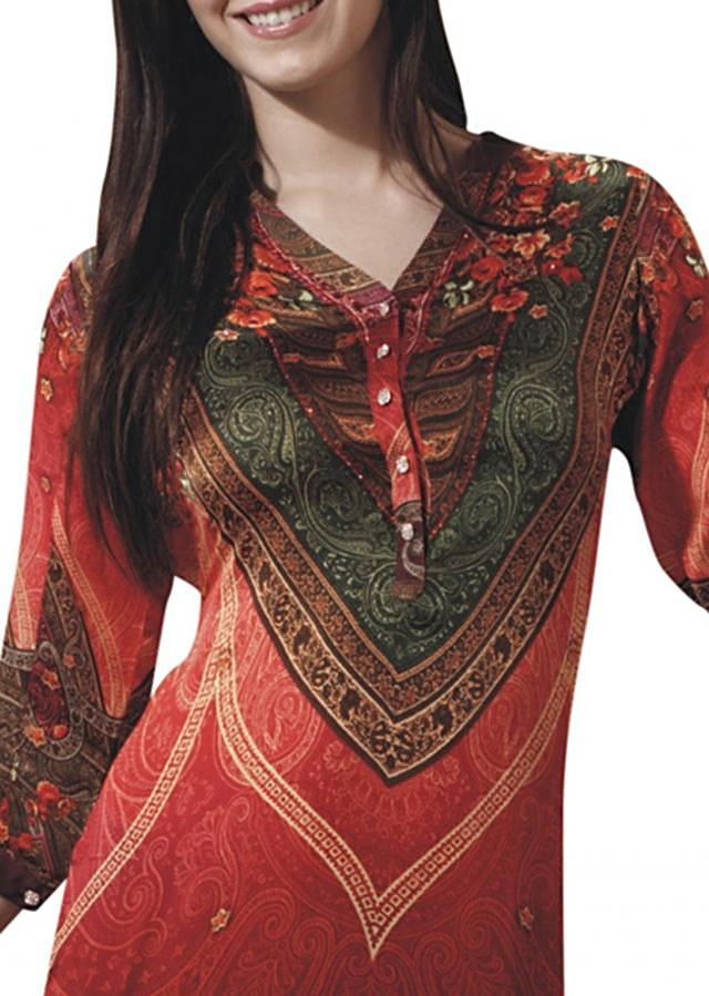 Multi color kurti embellished in digital print