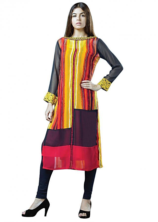 Multi color kurti featuring in georgette with strip print. Neckline is embellished in resham embroidery.