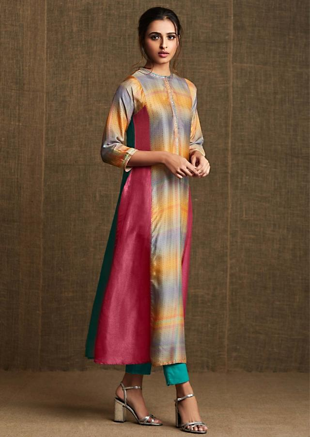 Multi Color Kurti In Crepe Silk With Embroidered Collar And Placket Online - Kalki Fashion