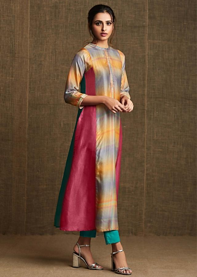 Multi color kurti featuring in crepe silk with embroidered collar and placket