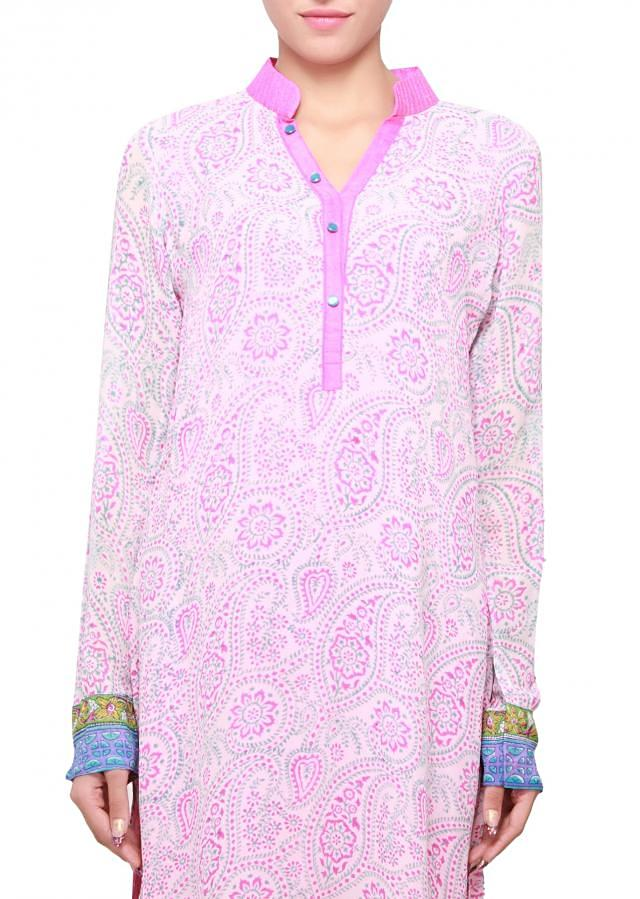 Multi color kurti featuring in georgette with paisley motif only on kalki