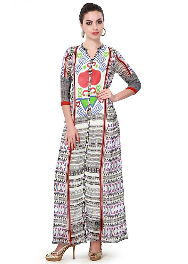 Multi color long kurti adorn in fancy buttons only on Kalki