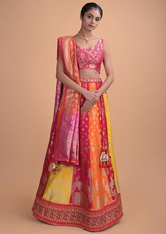 Multi Color Paneled Lehenga In Brocade Silk With Weaved Floral Pattern Online - Kalki Fashion