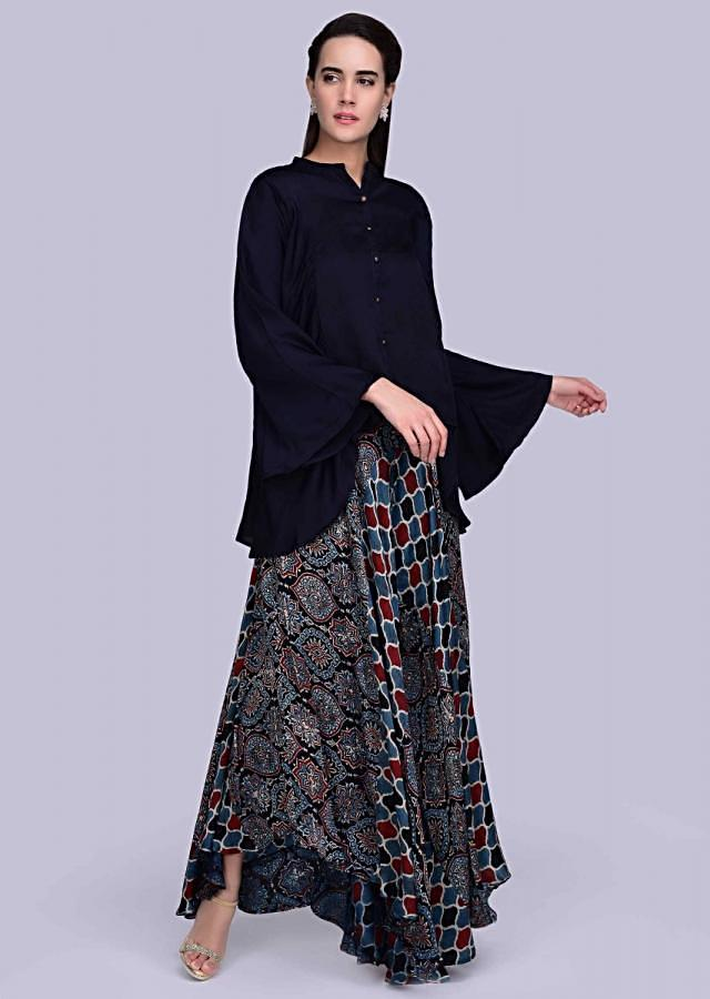 Multi color patola printed flared palazzo with contrasting mid night blue top only on Kalki