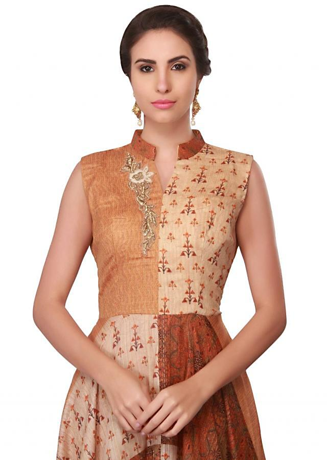 Multi color printed dress with embroidered neckline only on Kalki