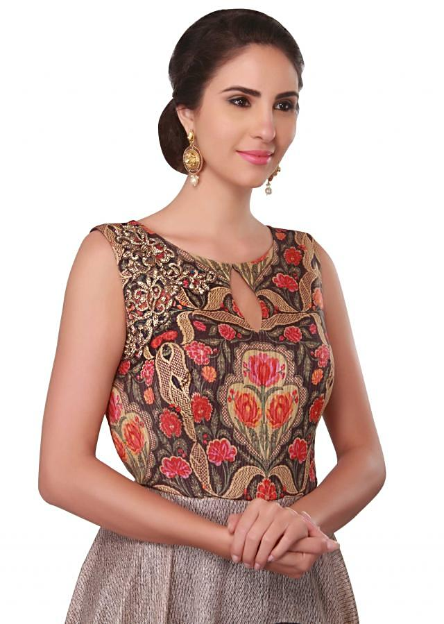 Multi color printed dress with embroidered yoke only on Kalki