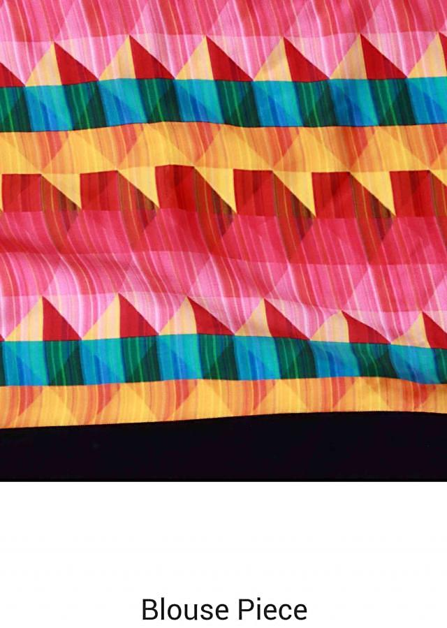 Multi color saree adorn in checks print and kundan border only on Kalki