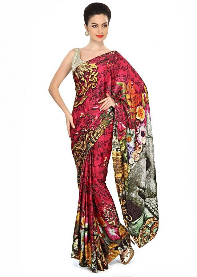Multi color saree embellished in kundan embroidery only on Kalki